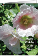 Birthdays / To Estranged Sister, Hollyhocks card