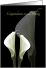 Congratulations on your Wedding, Son from Mother, White Calla Lilies card