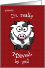 Valentine's Day Cow Moo Humorous for Granddson card