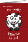 Valentine's Day Cow Moo Humorous for Great Grandson card