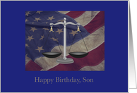 Birthday, Lawyer, Son, US Flag, Scales of Justice card