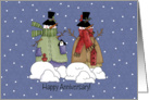 Snowmen Winter Wedding Anniversary card