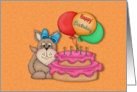 Dog, Cake and Balloon Kids Birthday Card