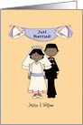 Just married, African-American couple card