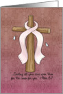 Breast Cancer Awareness Ribbon and Cross card
