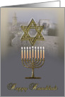 Hanukkah Menorah Star of David Jerusalem new temple card