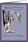 First anniversary, wildlife, wolf card