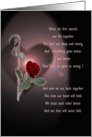 Getting back together, rose & poem card