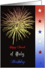 Fourth of July birthday, fireworks,. card