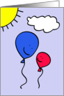 Balloon Dad and Child Father's Day Greeting card