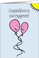 Balloon People Gay Engagement Congratulations in Pink card