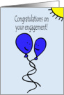 Balloon People Gay Engagement Congratulations in Blue card