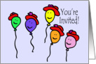 Balloon People Red Hat Invitation card