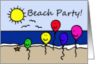 Balloon People Beach Party Invitation card