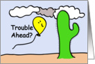 Cartoon Balloon People Trouble Ahead card