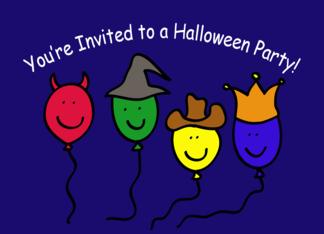 Halloween Party Invitation, Cartoon Balloon people Greeting Card