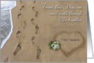 Wedding Footprints in the Sand Custom Announcement card