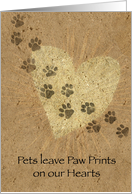 Paw Prints on our Hearts Pet Loss card