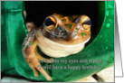 Birthday, Humor - Frog In Watering Can card