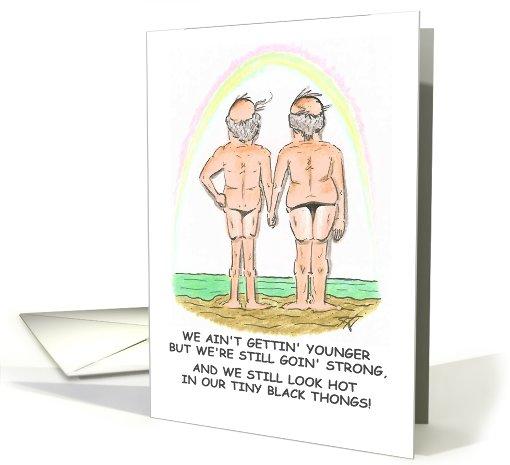 Gay anniversary thongs card