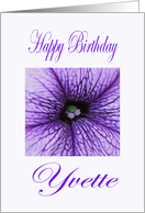 Yvette Happy Birthday Purple Blossom card