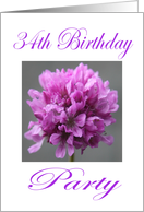 Happy 34 th Birthday Party Invitation Purple Flower card
