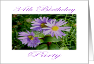 Lilac and Yellow Flower 34th Birthday Party Invitation card