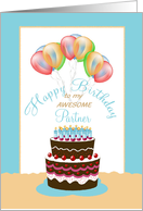 Partner Happy Birthday Cake Lit Candles and Balloons card