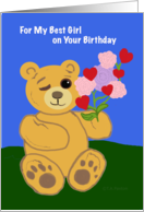For Girl Birthday Winking Teddy Bear