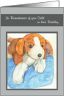 Stuffed Beagle Dog Remembrance of Child on Birthday card
