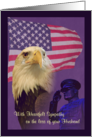 Sympathy Loss of Military Husband Eagle and Flag card
