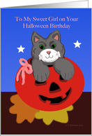 Halloween Birthday Cat in Jack O Lantern