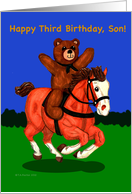 Son Third Birthday Teddy Bear on Galloping Horse