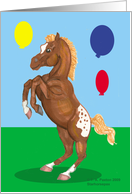 For Girls, Rearing Appaloosa Horse with Balloons, Birthday