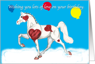 Valentine's Birthday Pinto Saddlebred Mare with balloons