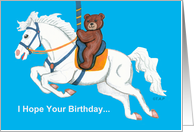 Teddy Bear on Carousel Horse Birthday Card