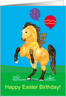 Happy Easter-Birthday Rearing Buckskin with Balloons