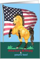 Happy Fourth of July, Independence Day, Rearing Buckskin Horse with US Flag
