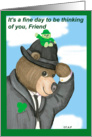 Fedora Bear St. Patrick's Day Greeting Card