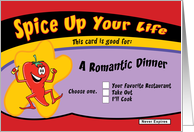A Romantic Dinner coupon card
