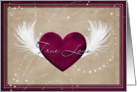 True love feathered red heart card