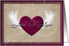 Look of love feathered red heart card