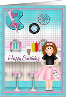 Happy bithday rock n roll malt shop card