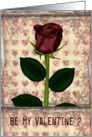 Be my valentine single rose card
