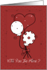 Will you be mine red card with balloons card