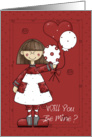 will you be mine girl with balloons valentine card