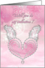 Pink diamond heart with fluffy wings valentine card