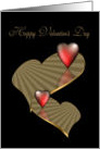 Happy Valentine's Day red and gold hearts card