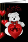 I love you beary much fluffy bear and dangling hearts card