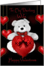 To my darling wife happy valentine's fluffy bear and dangling hearts card